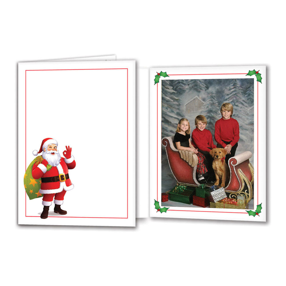 profit line santa folder - 4x6 Photo Insert Christmas Cards